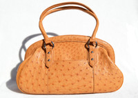 New! BURNT ORANGE 2000's OSTRICH Skin Handbag Satchel Shoulder Bag