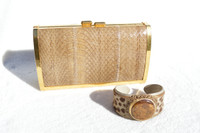Dark TAN 1980's-90's Hard-Sided Snake Skin Cobra Evening Bag with Matching Leopard Cowhide & Jasper Stone Bracelet Cuff