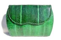 KELLY GREEN 1980's-90's Cobra Snake Skin Clutch Shoulder CROSS BODY Bag - J. Renee