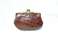 Lovely 1940's-50's Chocolate Brown Alligator Skin Change Purse