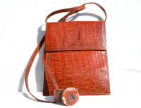 2000's RUST CROCODILE Skin Crossbody Messenger Bag with Matching Skin Cuff