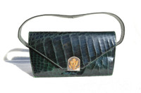 Dark Forest GREEN 1940's ALLIGATOR Skin Handbag - Eagle Crest