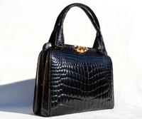Lovely 1960's Jet BLACK CROCODILE Belly Skin Handbag SHOULDER Bag