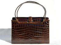 FINESSE 1950's-60's Dark Chocolate Brown ALLIGATOR Belly Skin Handbag