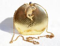 1980's Metallic Gold Cobra Snake Skin CLUTCH Shoulder Bag - FISH!