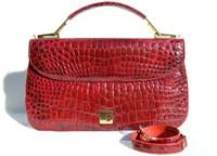 Cranberry RED 1960's ALLIGATOR Belly Skin Handbag Clutch Shoulder Bag