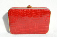 Bright RED Hard-Sided ALLIGATOR Belly Skin CLUTCH Shoulder Bag