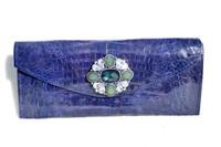 NEW Jeweled 2010 PURPLE Crocodile Belly Skin Envelope Clutch Bag