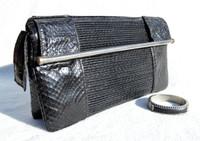 BLACK 1970's-80's Susan Gail PLEATED Snake Skin CLUTCH Handbag - SILVER - Bracelet!