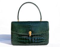 Stunning EMERALD GREEN 1990's CROCODILE Porosus Skin Handbag