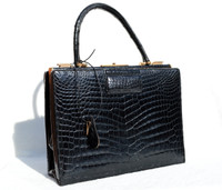 XXL Stunning 1960's MORABITO Paris Jet Black CROCODILE Porosus Skin Bag - with KEY!