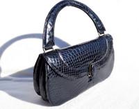Rare NAVY BLUE 1950's ALLIGATOR Belly Skin Handbag - RENDL