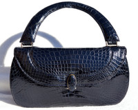 Rare NAVY BLUE 1950's ALLIGATOR Belly Skin Handbag - RENDL