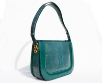 1970's-80's Kelly GREEN 1950's-60's Lizard Skin SHOULDER Bag