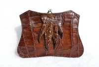 Large Unique 1920's-30's Brown Alligator Paw Change Purse