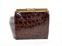 Chocolate Brown 1940's Alligator Skin Wallet & Change Purse - DEITSCH