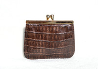 1980's Chocolate Brown Crocodile Skin Change Purse