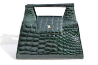 Stunning FOREST GREEN 1990's CROCODILE Belly Skin Handbag Shoulder Bag - BALLY