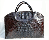 HUGE Black 1940's Hornback Crocodile Skin Carry-On Bag Luggage