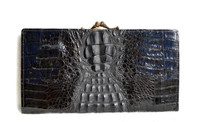 New! BLACK HORNBACK Crocodile Skin Checkbook Wallet Change Purse