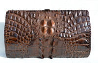 Lovely Brown 1930's-40's Hornback ALLIGATOR Skin Clutch Shoulder Bag