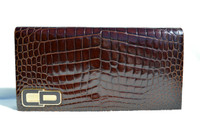CHRISTIAN DIOR 1990's Crocodile POROSUS Belly Skin CLUTCH Shoulder Bag - FRANCE