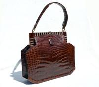 Fabulous CHOCOLATE 1950's-60's ART DECO Style CROCODILE Skin Handbag