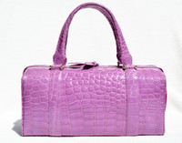 Rare 1990's-2000's (Bodacious) LILAC PURPLE CROCODILE Porosus Belly Skin Handbag