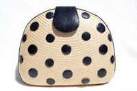 French Style! Natural 1980's STRAW Clutch Shoulder Bag w/Black COBRA Snake Skin Polka Dots!