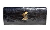 NEW Jeweled 2015 BLACK Crocodile Belly Skin Envelope Clutch Bag - BIRD!
