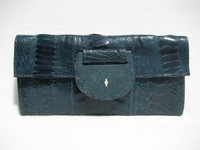 R & Y AUGOUSTI Teal BLUE OSTRICH LEG & STINGRAY Skin CLUTCH
