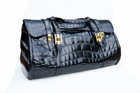 "Massive 19"" x 12"" BLACK 1990's-2000's CROCODILE Belly Skin CARRY ON Luggage Weekend BOSTON Bag"