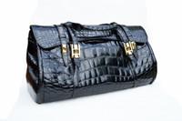 "Massive 19"" x 12"" BLACK 1990's-2000's CROCODILE Belly Skin CARRY ON Luggage Weekend BOSTON Bag"