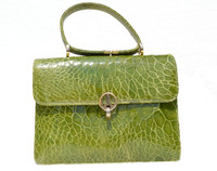 Stunning Bright GREEN 1950's-1960's TURTLE Skin Handbag