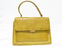Gorgeous YELLOW 1950's-1960's TURTLE Skin Handbag