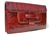 Lovely RED 1950's ALLIGATOR Belly Skin Clutch Bag - ARGENTINA