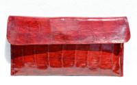 NEW 2010 RED Crocodile Skin Envelope Clutch Bag