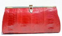 Stunning RED 1980's OSTRICH LEG Clutch Bag - CORBEAU CURIO
