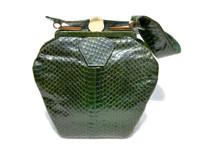 GREEN 1940's-50's Deco Style COBRA Snake Skin Handbag by LEADOL