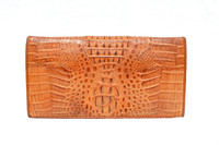 Tan HORNBACK Crocodile Skin Checkbook Wallet Change Purse