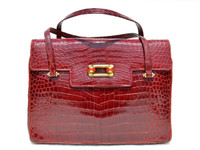 Stunning (Aurora) RED 1950's-60's Alligator Skin Handbag