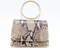 Petite 1990's Tan & Brown Python Snake Skin Handbag Clutch - SARIAN LEEDS