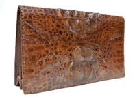 Unisex Dark Espresso Brown 1960's-70's Hornback Crocodile Skin Clutch Shoulder Bag