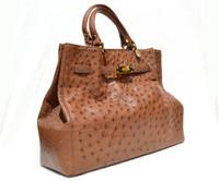 Stunning XL 15 x 10 NEW Early 2010's Tan BIRKIN Style OSTRICH Skin Handbag Shoulder Bag