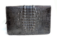 Black 1950's-60's HORNBACK CROCODILE Skin Zippered PORTFOLIO iPAD Case
