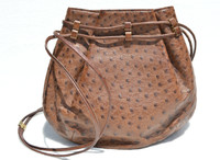 Light Brown 1980's-1990's OSTRICH Skin Drawstring Shoulder Bag Tote - JOHANN KNECHTL