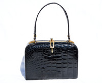 Outstanding 1950's-60's Jet Black LOUISE FONTAINE Crocodile POROSUS Bag