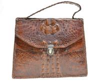 Small Indiana Jones Style 1940's-50's HORNBACK CROCODILE Skin Carry CASE Bag