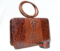 Deco 1970's Hornback Crocodile Skin Handbag w/Ring Handles with Matching Cuff Bracelet