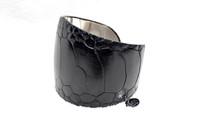 1990's-2000's Black Genuine OSTRICH Skin & Rhodium CUFF Bracelet - Helene Zubeldia - Paris
